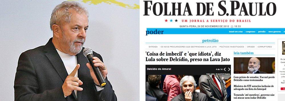 """Ex-presidente nega ter dito """"que idiota"""" sobre o senador do PT preso ontem pela PF e """"coisa de imbecil"""" sobre o comportamento do parlamentar, que o levou à prisão; """"Mais uma vez, com base em supostas fontes anônimas, este jornal atribui ao ex-presidente frases que nunca foram ditas por ele"""", diz em nota a assessoria de imprensa do Instituto Lula"""