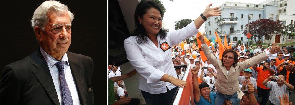 """""""O que é que acontece se a senhora Fujimori vencer as eleições? A ditadura será legitimada"""", afirmou o escritor, na Biblioteca do Congresso dos Estados Unidos, em Washington, após receber homenagem em reconhecimento à sua carreira literária"""