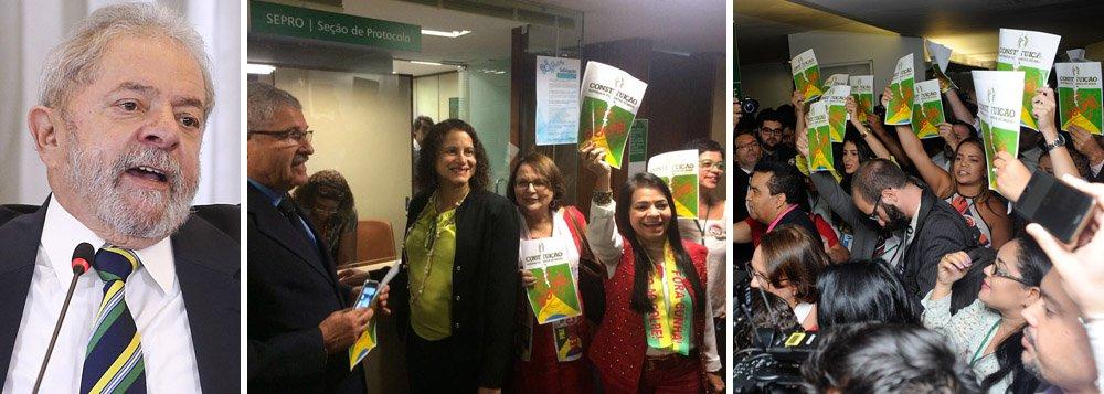 Documento contra o impeachment foi articulado pelo ex-presidente Lula na Câmara e recebe um número maior de assinaturas do que o necessário (172, contando abstenções) para barrar o afastamento da presidente Dilma Rousseff, que será votado no domingo 17; há ainda a assinatura de 30 senadores; a Frente Parlamentar em Defesa da Democracia foi protocolada nesta quinta-feira 14 pela deputada Luciana Santos, presidente do PCdoB
