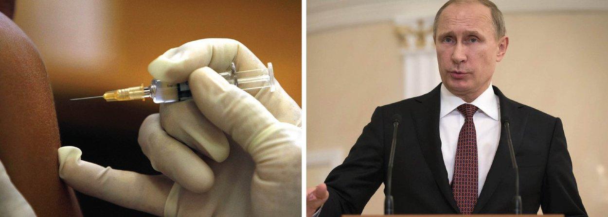 """Segundo o presidente russo, testes preliminares revelaram eficácia superior à de fármacos anteriormente desenvolvidos; """"Temos uma boa notícia. Registramos [a patente] de um medicamento contra o Ebola, que revelou, nos testes correspondentes, uma grande eficácia, superior aos compostos usados neste momento a nível mundial"""", disse"""