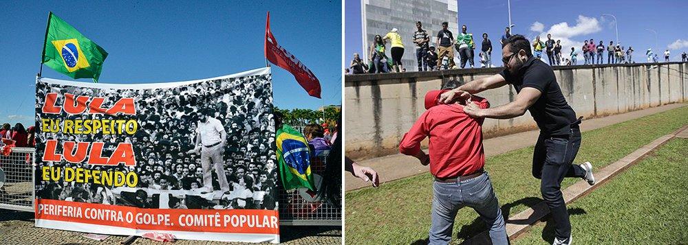Vestidos de vermelho e portando bandeiras de apoio ao PT, centenas de manifestantes favoráveis ao governo da presidenta Dilma e à posse do ex-presidente Lula como ministro da Casa Civil se reúnem em frente ao Palácio do Planalto; umgrupo contrário ao governo e ao partido também começou a se reunir logo cedo em frente ao Congresso Nacional; grupos pró e contra o governo Dilam entraram em confronto; a PM usou spray de pimenta; um representante de cada grupo foi detido por policiais e levados para a 5ª Delegacia de Polícia (área central); manifestantes furaram bloqueio; clima ficou tenso