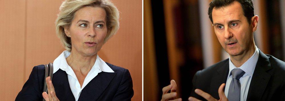 """Ministra da Defesa da Alemanha descartou qualquer cooperação entre as forças alemãs que irão participar da campanha militar contra o Estado Islâmico na Síria e o presidente sírio, Bashar Al-Assad:""""Deixe-me ser clara - não haverá futuro com Assad"""", destacouUrsula Von Der Leyen"""