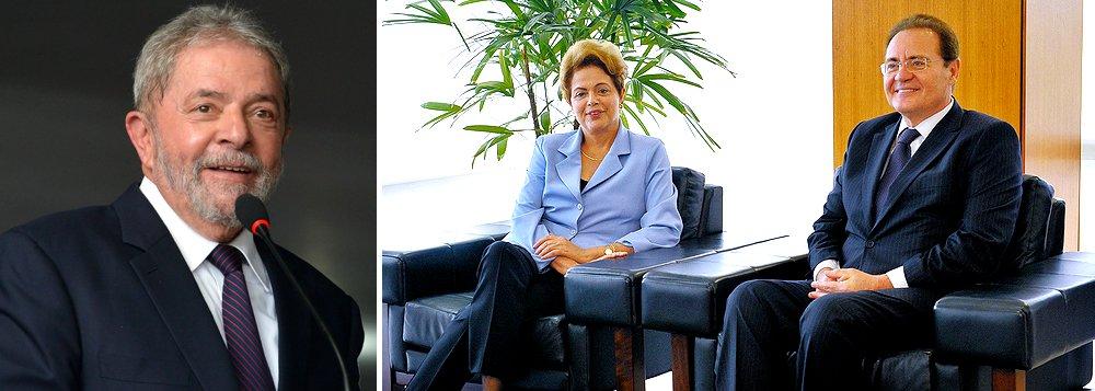 Sob ameaça de desembarque do PMDB do governo, intenção dapresidente Dilma Rousseffseria avaliarcom o presidente do Senado, Renan Calheiros (PMDB-AL),o apoio da sigla à indicação para a entrada doex-presidente Lula no governo federal;Renan teria dado boas garantias, segundo a colunista Mônica Bergamo