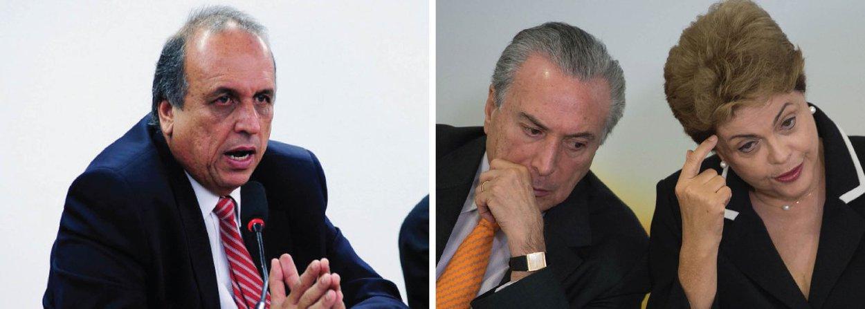 """O governador do Rio, Luiz Fernando Pezão (PMDB-RJ), fez uma crítica aberta ao vice-presidente, Michel Temer diante do processo de impeachment da presidente Dilma Rousseff; """"Vice é para ter atribuições, para ajudar na governabilidade, e não para conspirar. Adoro o Michel, mas eu não estou achando legal o posicionamento dele nessa questão com a presidenta Dilma"""", afirmou"""
