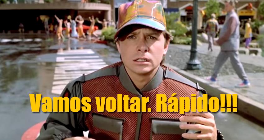 Deu defeito na máquina do tempo e Marty McFly veio parar no Brasil. O que ele encontrou ao desembarcar no futurístico 21 de outubro de 2015 foi um cenário de trevas