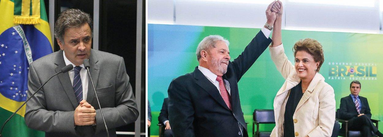 O PSDB entrou no Supremo Tribunal Federal com uma ação popular, nesta quinta (17), que visa anular o ato de nomeação do ex-presidente Lula como ministro da Casa Civil; na ação, o PSDB requer ainda que seja mantida a competência do juiz Sérgio Moro para julgar todos os processos criminais referentes à Operação Lava Jato que envolvam o nome de Lula; o senador Aécio Neves, que preside o PSDB, já foi alvo de cinco delações na Lava Jato e deve se tornar alvo de investigação da Procuradoria Geral da República