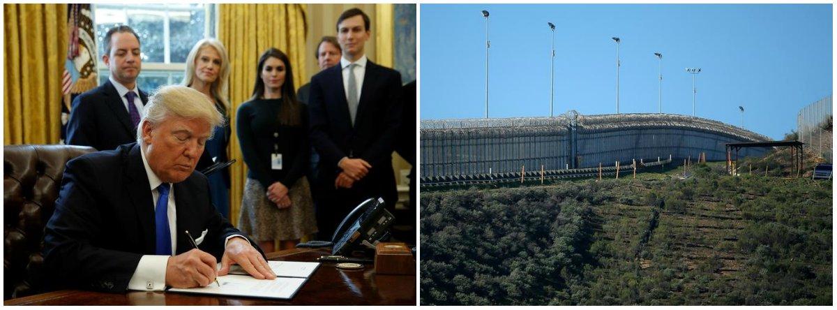 """Desta vez, diferente da promessa de campanha de Donald Trump, o porta-voz da Casa Branca disse que o custo pela construção do muro sairá dos cofres americanos;segundo Sean Spicer, Trump negociará com o Congresso a verba para a construção do muro, mas """"mais cedo ou mais tarde"""" o governo do México compensará esses gastos; """"Falávamos disso desde o começo"""", disse o presidente dos EUA"""