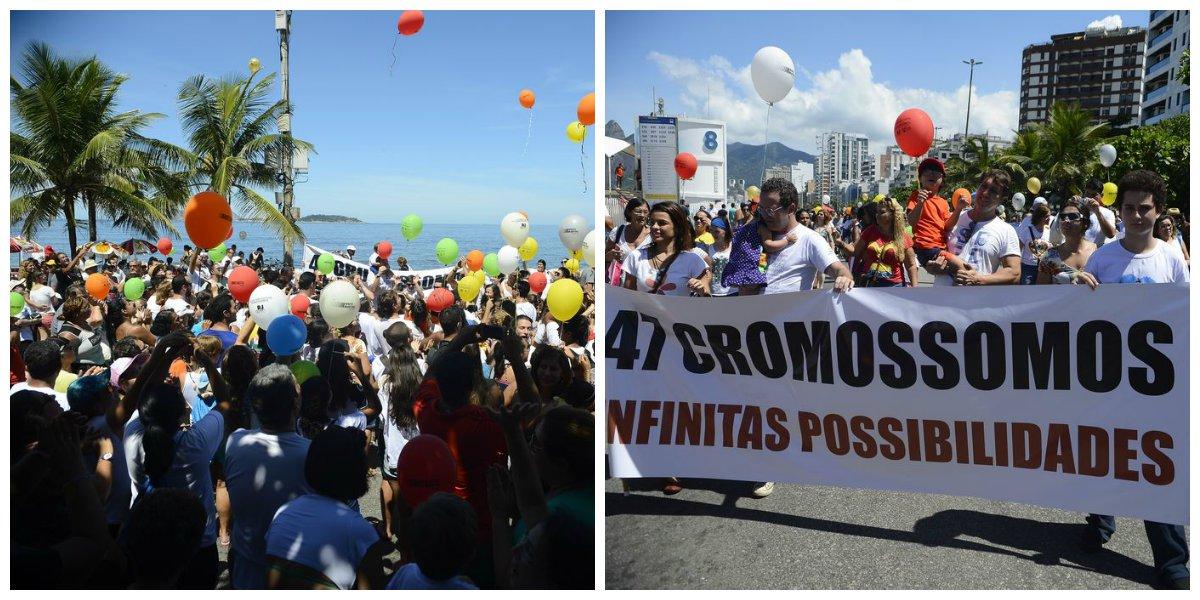 Portadores da Síndrome de Down, parentes e profissionais da saúde participaram de ato na orla de Ipanema, zona sul do Rio pedindo inclusão e menos preconceito