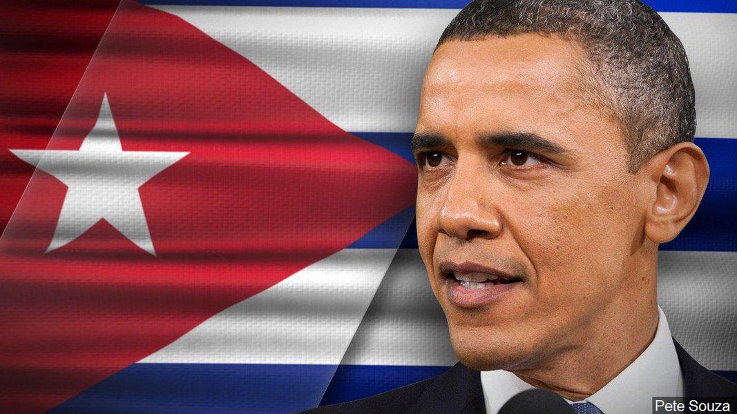 """No momento em que o Brasil se vê às voltas com fantasmas do passado, e forças golpistas tentam derrubar um governo democraticamente eleito, assim como ocorreu em 1964, o presidente dos Estados Unidos faz uma visita histórica a Cuba;numa curta mensagem em seu perfil no Twitter, divulgada pouco depois de aterrissar, no fim desta tarde, Obama escreveu em espanhol, usando uma expressão popular para perguntar como estão os cubanos (""""Que bolá Cuba?""""), e disse estar """"ansioso para conhecer e ouvir diretamente o povo cubano"""""""