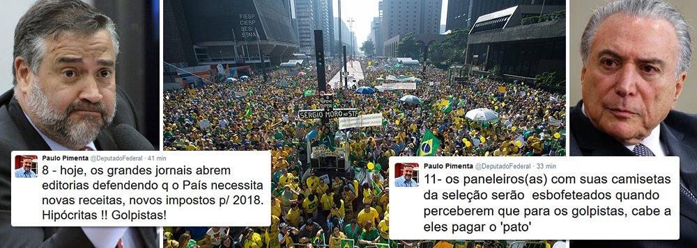 """O deputado Paulo Pimenta (PT-RS) alerta: depois que quebrar o País, Michel Temer e Henrique Meirelles irão propor a volta da CPMF, em 2017, com alíquota de 0,5%; """"os golpistas serão esbofeteados quando perceberam que terão que pagar o pato"""", diz ele; nesta quinta-feira, em editorial, a Folha de S. Paulo, que condenou o ajuste fiscal proposto pela presidente Dilma Rousseff e pelo então ministro Joaquim Levy, já defende novos impostos em 2017; """"hipócritas"""", resume Pimenta"""