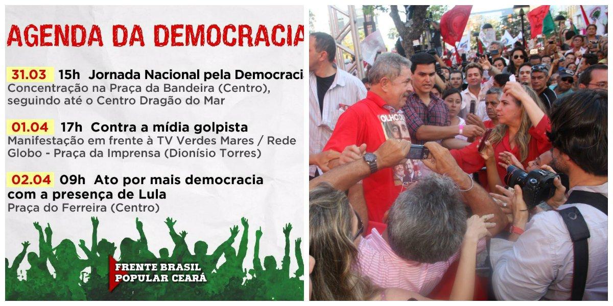 Quinta, sexta e sábado haverá mobilizações e ocupação das ruas de Fortaleza, organizadas pela Frente Brasil Popular. A vinda do ex-presidente Lula, no sábado, deverá ser o ponto alto das mobilizações desta semana