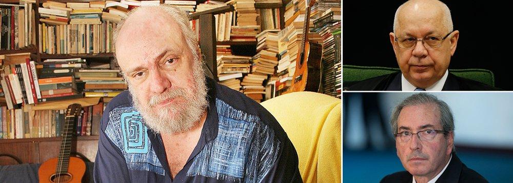 """Compositor e escritor brasileiro pergunta ao ministro do STF Teori Zavascki: """"quando é que essa esterqueira será varrida da casa de tolerância? O que é que falta para a amputação do líder dessa gang-grena?""""; """"O processo contra esse cafajeste na câmara ardente se arrasta por tramoias e manipulação do regimento. ChikunCunha é réu em um sem-número de propinagens"""", lembra Blanc, em artigo"""