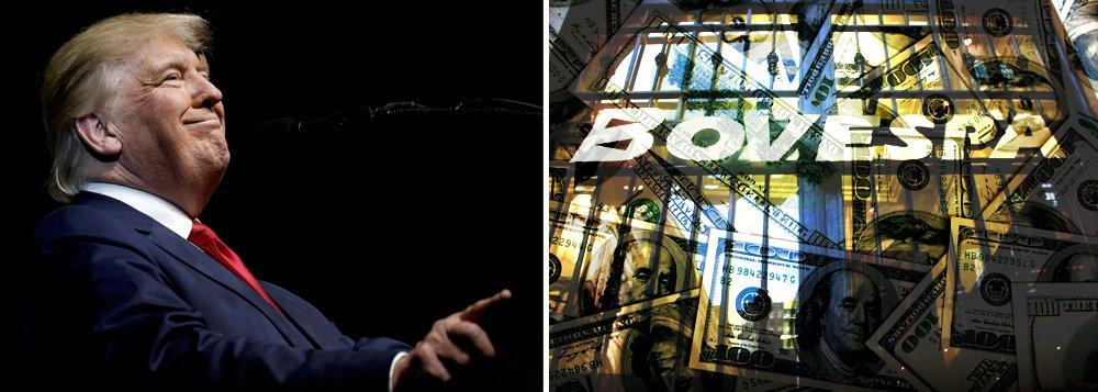 Vitória do candidato do partido republicano, Donald Trump, nas eleições presidenciais norte-americanas gerou tensão também no mercado brasileiro, com o Ibovespa Futuro acompanhando o tom de forte aversão a riscos dos investidores globais; às 9:59, o dólar avançava 2,28% cento, a R$ 3,2395 na venda, depois de bater R$ 3,2500 na máxima do pregão; dólar futuro registrava ganho de 2%; já o Índice de Valores da Bolsa de São Paulo (Ibovespa) caia 3,24% por volta das 10h20, com 62.079,76 pontos