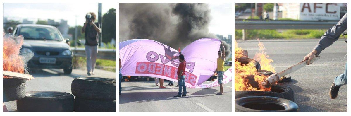 Hoje pela manhã o Movimento dos Trabalhadores Sem Teto do Ceará realizou um travamento da BR-116 na altura do hospital do Coração,com o objetivo de denunciar o golpe