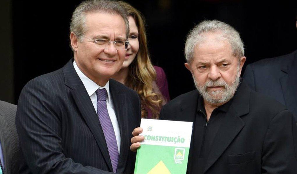 Presidente do Senado, Renan Calheiros (PMDB-AL), sinalizou a Lula que asseguraria o apoio de parte do PMDB ao governo caso o ex-presidente aceitasse virar ministro, segundo a colunista Mônica Bergamo; o apoio do PMDB no Senado é crucial para barrar um pedido de impeachment contra Dilma Rousseff; em meio à crise política e as investigações da Lava Jato contra a família do ex-presidente, Dilma convidou Lula para assumir a Casa Civil ou a Secretaria de governo