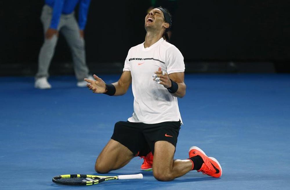 Nadal comemora vitória na Austrália. 28/1/17. REUTERS/Thomas Peter