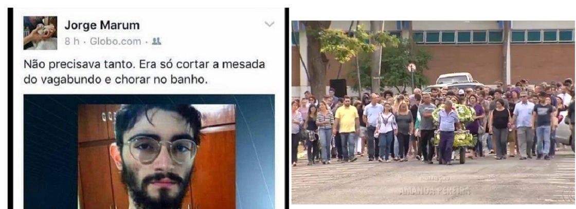 """O promotor de Justiça e professor da Faculdade de Direito de Sorocaba (SP), Jorge Alberto de Oliveira Marum, causou polêmica ao chamar de """"vagabundo"""" o jovem Guilherme Neto, assassinado pelo pai em Goiânia, por participar das ocupações estudantis; Marum compartilhou notícia sobre a tragédia no seu Facebook e comentou: """"Não precisava tanto. Era só cortar a mesada do vagabundo e chorar no banho""""; depois, o promotor considerou """"infeliz"""" o comentário que fez e pediu desculpas aos familiares; corpo do jovem foi enterrado ontem em Goiânia"""