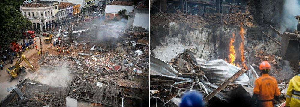 Serão necessários pelo menos 30 dias para saber o que causou a explosão em São Cristóvão, zona norte do Rio; segundo a 17ª Delegacia Policial, responsável pela investigação, é preciso aguardar o laudo dos bombeiros e do Instituto de Criminalística Carlos Éboli (ICCE), da Polícia Civil, para determinar o que aconteceu; até o momento, 13 pessoas foram ouvidas, entre elas, quatro vítimas e dois proprietários da Pizzaria Dell' Arco; um vazamento em uma estocagem irregular de gás está sendo investigada; de acordo com a Defesa Civil municipal, 54 imóveis foram interditados, após vistoria dos técnicos do órgão