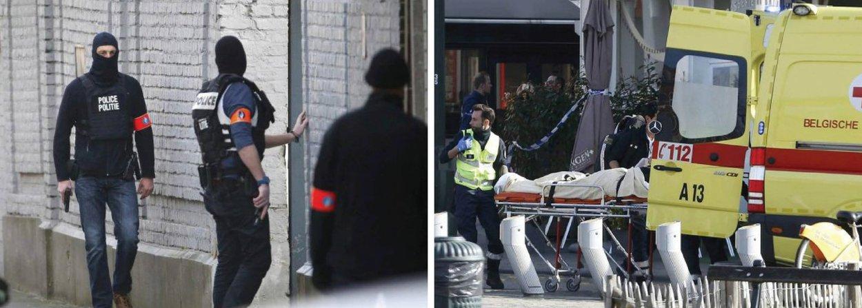Polícia belga matou a tiros um atirador durante operação em um apartamento em Bruxelas ligado a militantes do Estado Islâmico envolvidos nos ataques de Paris em novembro; outros dois suspeitos estão foragidos, quatro membros das forças de segurança ficaram feridos no tiroteio; polícia ainda busca por suspeitos e associados aos militantes do Estado Islâmico envolvidos nos ataques em 13 de novembro em Paris, que mataram 130 pessoas