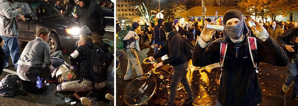 Milhares de manifestantes americanos foram às ruas protestar contra a eleição de Donald Trump pela terceira noite consecutiva; na madrugada deste sábado, 12, uma pessoa foi baleada em Portland, Oregon; mais cedo, manifestantes bloquearam o tráfego e atiraram objetos contra a polícia de choque de Portland, que respondeu com gás de pimenta e bombas de efeito moral
