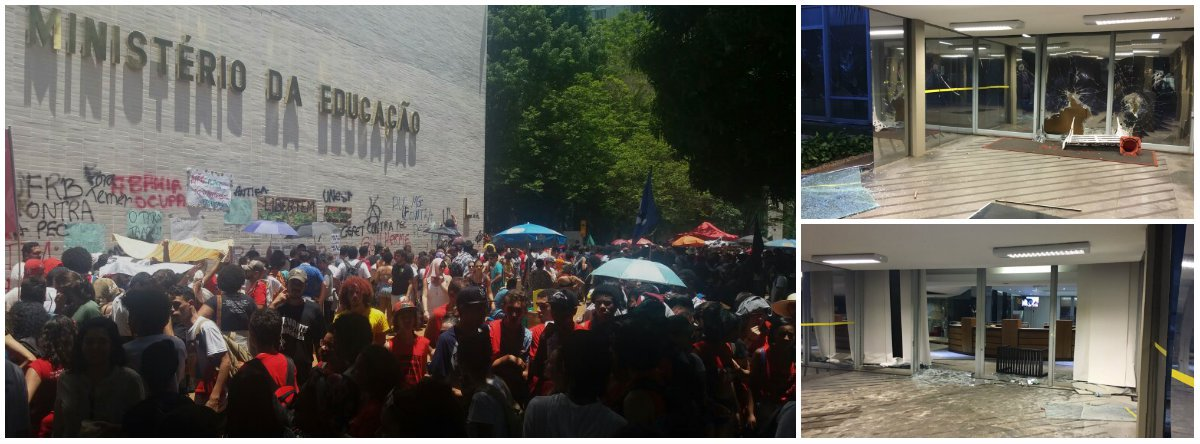 Um grupo de manifestantes ocupou, nesta terça-feira 29, o Ministério da Educação pedindo a saída de Michel Temer; os manifestantes também protestam contra a PEC 55, que congela os investimentos em educação pelos próximos vinte anos, e a medida provisória do ensino médio; a sede do MEC chegou a ser ocupada pelo grupo