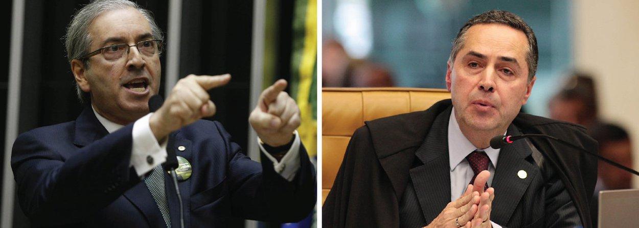 O presidente da Câmara, Eduardo Cunha (PMDB) preparou um dos argumentos que usará para se defender da ação apresentada pelo Rede, que pede que ele seja impedido de assumir, eventualmente, à presidência do país; ele atacará o ministro Luís Roberto Barroso; Cunha dirá que a apresentação da ação foi um jogo combinado com Luís Roberto Barroso, uma vez que a ação foi assinada pelo advogado Eduardo Mendonça, ex-sócio de Barroso