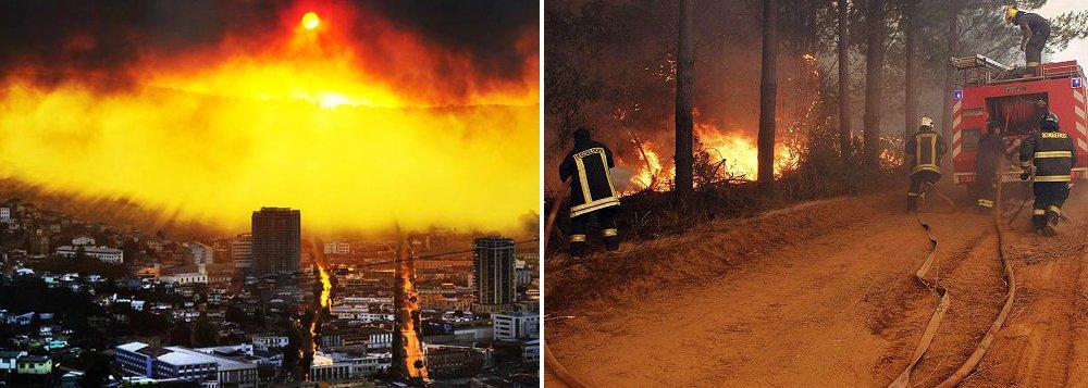 Um total de 140 mil hectares de florestas foram destruídos por incêndios no Centro e no Sul do Chile na última semana no maior desastre natural da história do país, agravado por ações humanas e pelas mudanças climáticas; situação de emergência obrigou a evacuação preventiva de cerca de 5 mil pessoas em localidades da região de Maule devido ao descontrole dos incêndios florestais