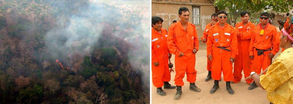 Índios e brigadistas do Centro Nacional de Prevenção e Combate aos Incêndios Florestais (Prevfogo) – ligado ao Ibama – e da Força Aérea do Chile (FACh) continuam no trabalho de combate ao incêndio florestal na reserva indígena Arariboia, no Maranhão, que já dura mais de 40 dias; de acordo com o Ibama, dos 415 mil hectares, cerca de 45% (185 mil hectares) já foram queimados; ao todo, oito mil índios de 143 aldeias são ameaçados pelo incêndio