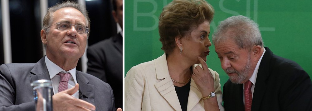 O presidente do Senado, Renan Calheiros (PMDB-AL) se reúne, nesta terça-feira (26), com o ex-presidente Luiz Inácio Lula da Silva, e às 18h com a presidente Dilma; a assessoria do senador informou que para esta quarta-feira (26) ele tem marcada uma reunião com o vice-presidente Michel Temer; o parlamentar já teve um encontro em seu gabinete com representantes demovimentos sociais, entre eles a UNE, a CUT e o Movimento dos Trabalhadores Sem-Terra, contrários ao impeachment da presidente Dilma