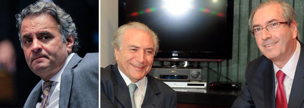 """""""Um falso esperto é facilmente desbancado por um esperto de verdade. Foi onde Aécio se deu mal ao aproximar seu rancor de derrotado de Eduardo Cunha e Michel Temer. Ao associar sua birrenta e irresponsável estratégia de terceiro turno com os próceres do PMDB, que lhe pareceram no momento o melhor caminho, o ex-governador de Minas, como péssimo mineiro, entregou a faca e o queijo"""", diz o jornalista João Paulo Cunha, no Brasil de Fato; """"Depois de tanta histeria e ranger de dentes, Aécio ficou com a broxa na mão"""""""
