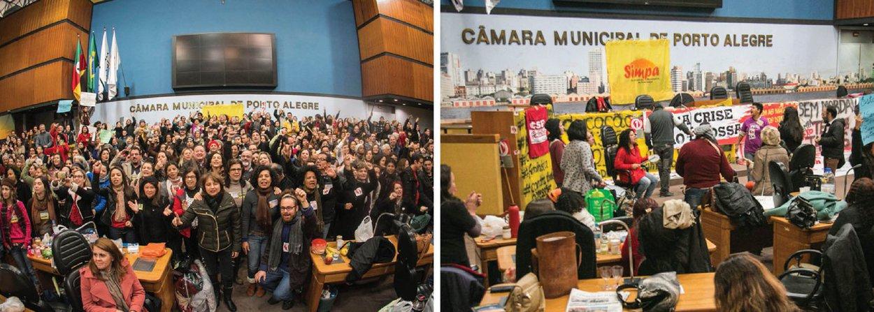 Os servidores municipais de Porto Alegre anunciaram que permanecerão ocupando o plenário da Câmara de Vereadores para pressionar a Prefeitura de Porto Alegre a melhorar a proposta de pagamento da reposição da inflação; em greve desde a semana passada, os municipários não aceitam a proposta atual do município, que é de pagar o reajuste em quatro parcelas, com a última agendada para janeiro de 2017; a categoria quer um reajuste salarial de 9,28%, equivalente à inflação dos últimos 12 meses medida pelo IPCA, e até admitem um parcelamento, desde que todo o reajuste seja pago este ano e a parcela maior seja efetuada retroativa a maio, data-base da categoria