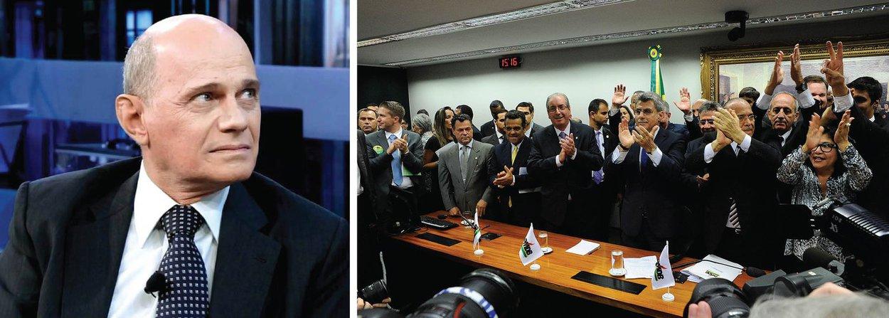 """Jornalista Ricardo Boechat fez duras críticas à decisão do PMDB de desembarcar do governo Dilma Rousseff; """"É uma imagem melancólica e humilhante para o cidadão brasileiro ver tantas figuras com tantos crimes nas costas reunidas ali, sem que a polícia comparecesse para fazer a sua parte"""", disse"""