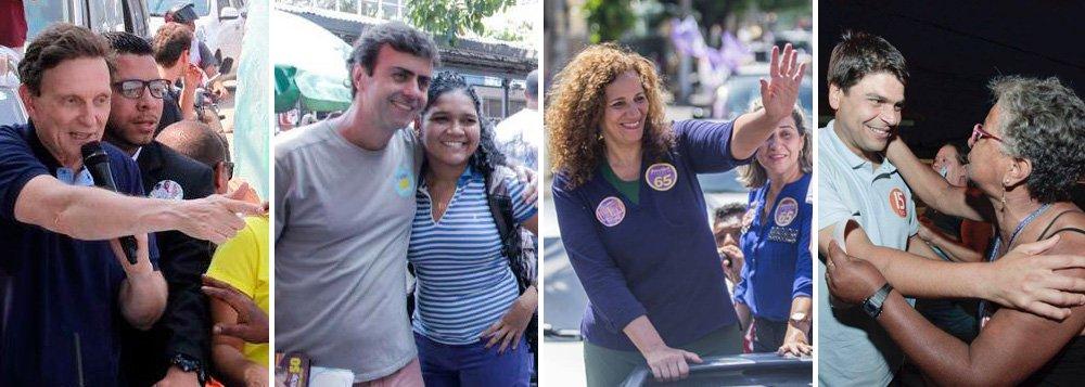 Segundo o Datafolha, cinco candidatos estão tecnicamente empatados em segundo lugar: Marcelo Freixo, Jandira Feghali, Pedro Paulo, Flávio Bolsonaro e Indio da Costa; no levantamento anterior, realizado pelo instituto, no dia 8 de setembro, Crivella tinha 29%, seguido por Freixo (11%), Jandira (8%), Pedro Paulo (8%), Bolsonaro (6%), Indio da Costa (6%) e Osorio (4%)