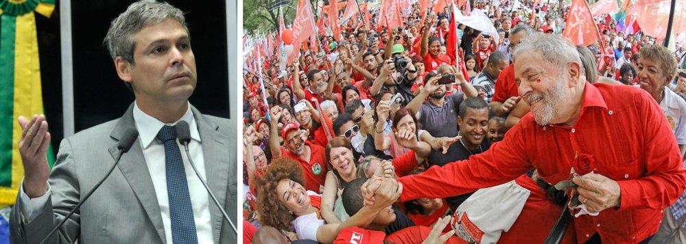 """Senador Lindbergh Farias (PT-RJ) defendeu a candidatura de Luiz Inácio Lula da Silva à Presidência da República em 2018 – ou até antes, conforme o andamento da crise política; """"Fora Temer, diretas já, Lula presidente"""", resumiu """"Num momento como este, precisamos de um presidente com legitimidade popular para fazer o que Lula fez na crise de 2008/2009"""", disse o senador, acrescentando que o ex-presidente """"tem de apresentar um programa para o país"""""""