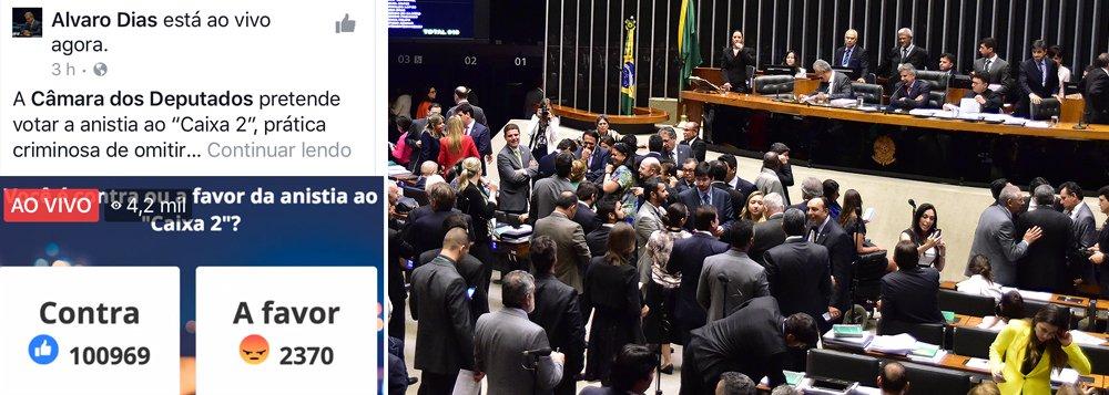 Enquete realizada pelo senador Alvaro Dias (PV) em seu Facebook questiona sobre a anistia ao caixa 2 eleitoral, que está para ser votado na Câmara; a pesquisa até às 19h desta quinta (24) mostrava mais de 100 mil pessoas contrárias à anistia enquanto apenas 2,3 mil se colocaram a favor