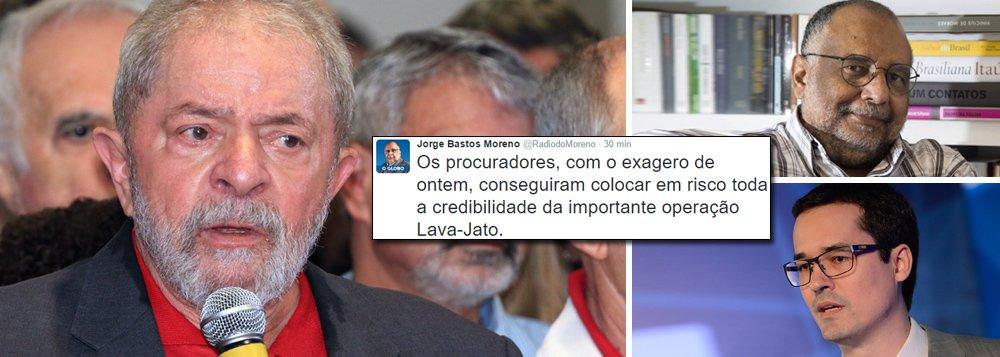 """""""Até adversários do PT e de Lula reconhecem, ainda que acanhados, que houve exageros dos procuradores. É preciso ter coragem pra reconhecer"""", afirma o colunista do Globo, que vê a operação comprometida após a apresentação da denúncia contra o ex-presidente;""""Defendo e apoio a Lava-Jato, por isso combato seus exageros, pois estes comprometem a credibilidade da operação""""; para ele, a frase 'não temos provas, mas convicção', que viralizou na internet após a coletiva, """"é a prova de que o festival de ontem acabou vitimizando ainda mais o Lula"""""""