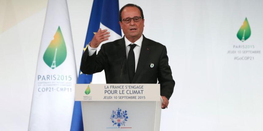 """Afirmação do presidente francês, François Hollande, foi feita durante a abertura da Conferência das Nações Unidas sobre as Mudanças Climáticas (COP21) e procurou alertar as delegações de 195 países sobre o o papel do clima na instabilidade política que leva a conflitos em diferentes lugares do mundo; """"As mudanças climáticas trarão conflitos assim como as nuvens trazem tempestades"""", disse"""