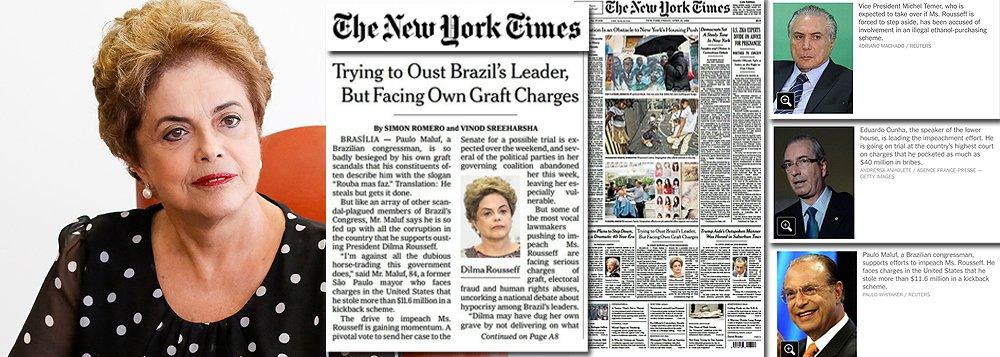 Reportagem de capa do maior jornal do mundo destaca o caráter surreal do processo de impeachment que corre no Brasil; segundo o NYT, a presidente Dilma Rousseff corre o sério risco de ser afastada por um processo dominado por corruptos e por abusos aos direitos humanos; texto cita o próprio vice-presidente da República, Michel Temer, que assume o lugar de Dilma caso o processo seja aprovado no Congresso, como possível envolvido no esquema de corrupção da Lava Jato; destaca o presidente da Câmara, Eduardo Cunha (PMDB-RJ), como réu da corte suprema do País por suspeita de ter recebido 40 milhões de dólares em propina, e ainda o deputado Paulo Maluf (PP-SP), outro defensor do impeachment, alvo de processos nos Estados Unidos por ter desviado mais de 11,6 milhões de dólares