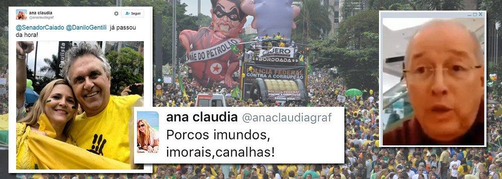 Ana Cláudia, que gravou uma entrevista com o ministro do Supremo Celso de Mello dizendo que impeachment não é golpe, estampa as redes sociais com mensagens fascistas contra o governo Dilma Rousseff e até o relator da Lava Jato na Corte, Teori Zavascki, e fotos ao lado de Ronaldo Caiado em manifestações pró-golpe