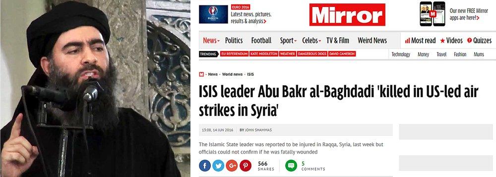 """Jornal britânico The Mirror se refere a uma fonte noticiosa próxima dos terroristas e afirma que """"Abu Bakr al-Baghdadi foi morto durante um golpe aéreo da coalizão em Raqqa no quinto dia do Ramadã"""", diz a mensagem da agência citada.; Al-Baghdadi ficou famoso em junho de 2014, quando ele se autoproclamou """"califa"""" do """"califado internacional do grupo extremista Estado Islâmico; morte de Al-Baghdadi ainda não foi confirmada"""