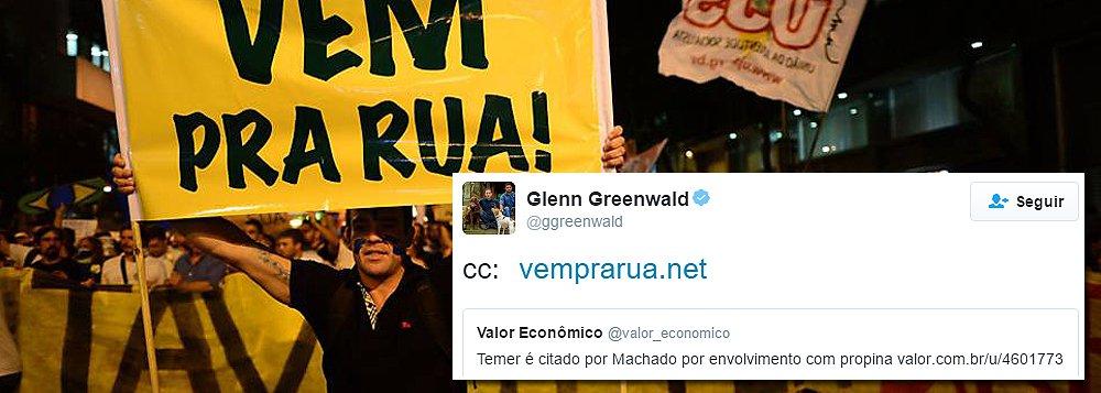 Glenn Greenwald usou o Twitter para provocar o Vem Pra Rua; ao compartilhar a delação de Sérgio Machado envolvendo o presidente interino Michel Temer em suposto caso de propina, o jornalista marcou o grupo, como se cobrasse uma ação do movimento que defende o impeachment de Dilma Rousseff