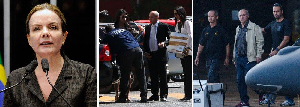 """Em sua primeira fala após a prisão do marido, Paulo Bernardo, na última quinta-feira, a senadora Gleisi Hoffmann (PT-PR) discursou em plenário nesta segunda, quando classificou a Operação Custo Brasil como """"surreal"""", pelo uso """"desnecessário"""" de """"helicóptero, força policial armada e muitos carros"""" e a prisão do ex-ministro de """"abusiva"""" e fomentada para intimidar a atuação dos senadores contrários ao impeachment da presidente Dilma Rousseff; a senadora também procurou relacionar o juiz que determinou a prisão, Paulo Bueno de Azevedo, com a advogada Janaína Paschoal, que conduz os trabalhos da acusação na Comissão Processante do Impeachment no Senado;""""O que aconteceu com a isenção que exige-se da Justiça?"""", questionou, criticando a """"pré-condenação em praça pública antes de julgamento"""""""