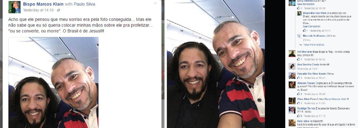 """Bispo da Comunidade Bíblica da Graça, Marcos Klein, postou no Facebook uma foto onde aparece sorridente ao lado do deputado Jean Wyllys (PSOL-RJ) e escreveu: """"Acho que ele pensou que meu sorriso era pela foto conseguida... Mas eu só queria colocar minhas mãos sobre ele pra profetizar 'ou se converte, ou morre. O Brasil é de Jesus!!!'""""; mensagem foi apagada após repercussão nas redes sociais"""