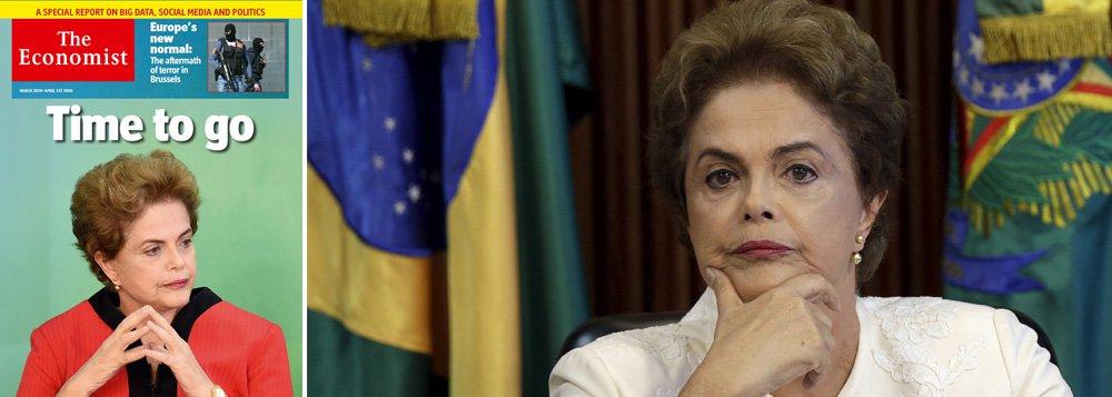 """Com um título na capa dizendo que é hora de a presidente do Brasil ir embora, revista britânica acusa Dilma Rousseff de cometer uma """"tentativa grosseira de impedir a Justiça"""" ao nomear o ex-presidente Lula como ministro; publicação ignora o resultado das eleições e avalia que a troca na presidência da República abriria caminho para um """"novo começo"""" no País"""