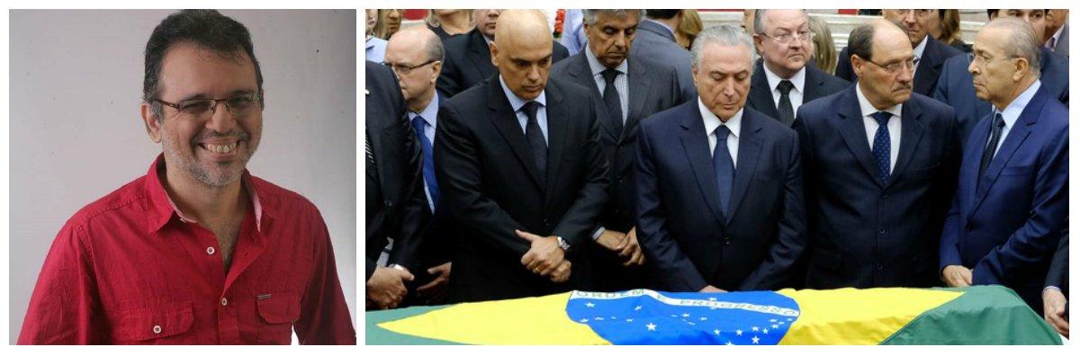 """O jornalista Paulinho Oliveira enviou uma crônica para o Ceará 247, sobre como poderiam ter sido sido os diálogos furtivos,no velório de Teori Zavascki. """"Claro que todo o diálogo e os pensamentos são ficcionais. Mas qualquer semelhança com a coincidência é pura realidade"""", ironiza o jornalista"""