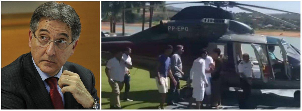 O governador de Minas Gerais, Fernando Pimentel (PT), anunciou que vai processar o deputado Sargento Rodrigues (PDT) por calúnia e difamação e falsa acusação de crime pela divulgação de um vídeo em que ele aparece junto com o filho no condomínio de luxo Escarpas do Lago, no município de Capitólio, antes de embarcar no helicóptero oficial do governo; no Facebook, Pimentel justificou que o uso do helicóptero é legal, regulamentado por um decreto de 2005, publicado pelo ex-governador Aécio Neves