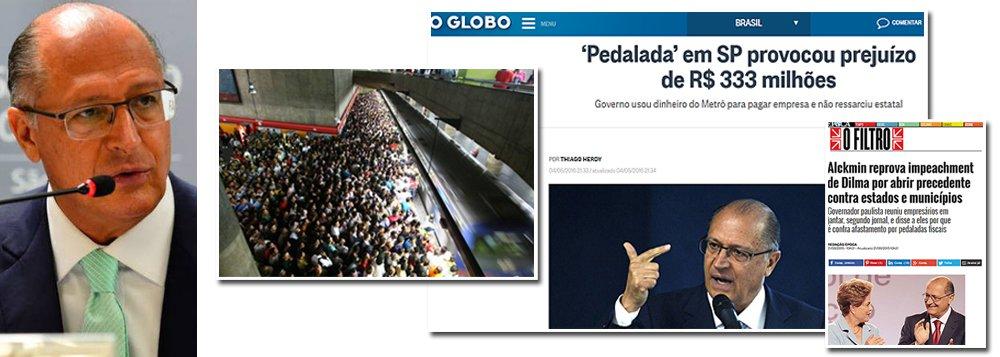 """Enquanto a presidente Dilma Rousseff vem sendo alvo de um golpe parlamentar sob a acusação de ter usado recursos de bancos oficiais para pagar programas sociais, ressarcindo depois as instituições federais, há um caso muito mais grave em São Paulo; no principal estado governado pelo PSDB, Geraldo Alckmin usou recursos do Metrô e depois, simplesmente, deu calote de R$ 333 milhões na empresa; quem denuncia a """"pedalada"""" é o jornal O Globo; até recentemente, Alckmin dizia que a presidente não deveria ser afastada pelo que chamava de """"motivo fútil"""", pois, segundo ele, todos os governadores e prefeitos estariam ameaçados; depois, Alckmin mudou de ideia e passou a apoiar o golpe; a questão é: ele também será cassado?"""