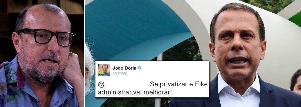 """Jornalista Xico Sá criticou o prefeito de São Paulo, João Doria (PSDB), por ter apagado tweets em que tece elogios ao empresário Eike Batista, preso pela Polícia Federal nessa segunda-feira, 30, acusado de corrupção e pagamento de US$ 16,5 milhões em propina ao ex-governador Sergio Cabral; """"Depois d apagar pixo e grafite, Dória monta operação p/ sumir c/ tuítes e declarações de amor a Eike. Ñ tem tinta cinza q apague seu passado"""", escreveu o jornalista Xico Sá em sua conta no Twitter; confira os tweets apagados da conta do prefeito João Doria"""