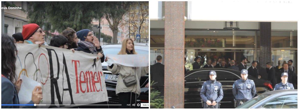 """Grupo do """"Coletivo Andorinha - Frente Democrática Brasileira de Lisboa"""" fez um protesto em frente ao hotel onde Michel Temer está hospedado em Lisboa, para onde viajou a fim de participar das cerimônias fúnebres do ex-presidente português Mário Soares; manifestantes denunciaram, aos gritos, que """"um golpista"""" faria """"parte de um funeral de um democrata chamado Mário Soares""""; """"Ele não representa a democracia"""", disseram; quando Temer deixou o hotel, ouviu gritos de """"golpista"""" e fez sinal de joia para o grupo; vídeo"""