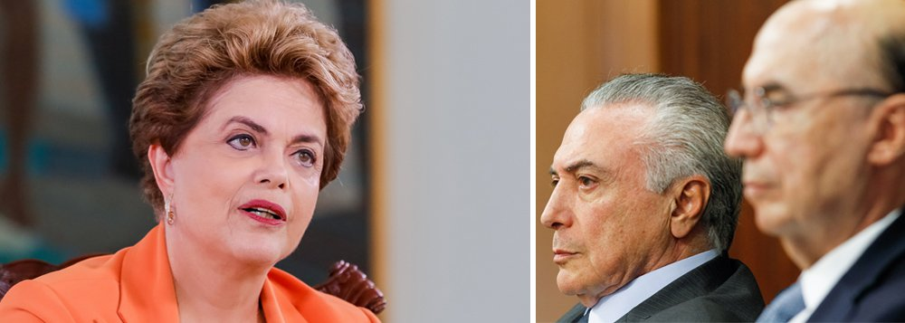 """Pelo Twitter, a presidente eleita Dilma Rousseff criticou as recentes medidas do governo interino na economia, que já somam R$ 125,4 bilhões em gastos e renúncias fiscais, e bateu duro em declarações feitas nesta sexta-feira pelo ministro da Fazenda, Henrique Meirelles; """"O governo Temer, do vai e vem, está mostrando a que veio: enquanto extingue direitos de todos, distribui bondades a poucos"""", postou; ela chamou de """"estapafúrdio"""" o argumento de Meirelles de que os gastos com saúde, educação e previdência, nas últimas décadas, inviabilizaram """"controle maior das despesas""""; """"Ora, senhor Ministro, foram os gastos com educação e saúde que melhoraram a qualidade de vida da população"""", rebateu a presidente"""